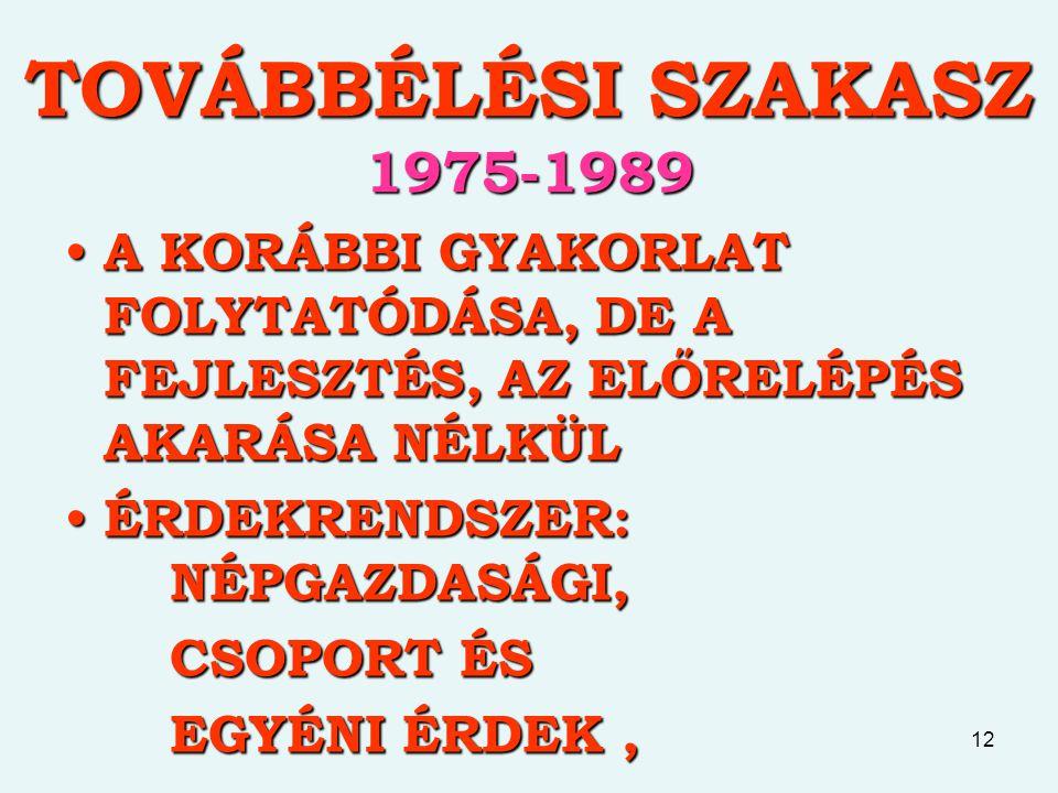 TOVÁBBÉLÉSI SZAKASZ 1975-1989 A KORÁBBI GYAKORLAT FOLYTATÓDÁSA, DE A FEJLESZTÉS, AZ ELŐRELÉPÉS AKARÁSA NÉLKÜL.