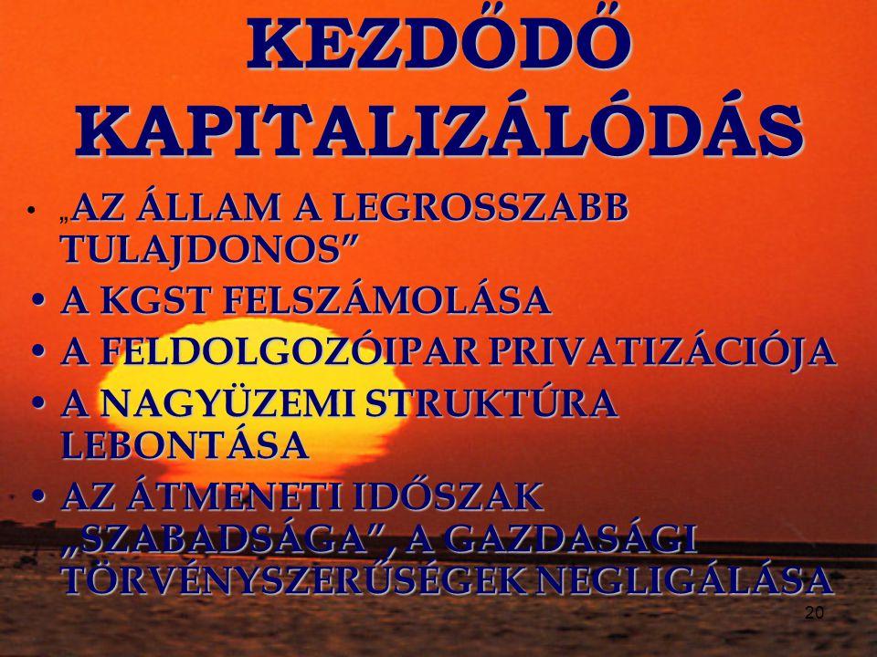 KEZDŐDŐ KAPITALIZÁLÓDÁS