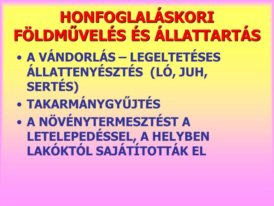 HONFOGLALÁSKORI FÖLDMŰVELÉS ÉS ÁLLATTARTÁS