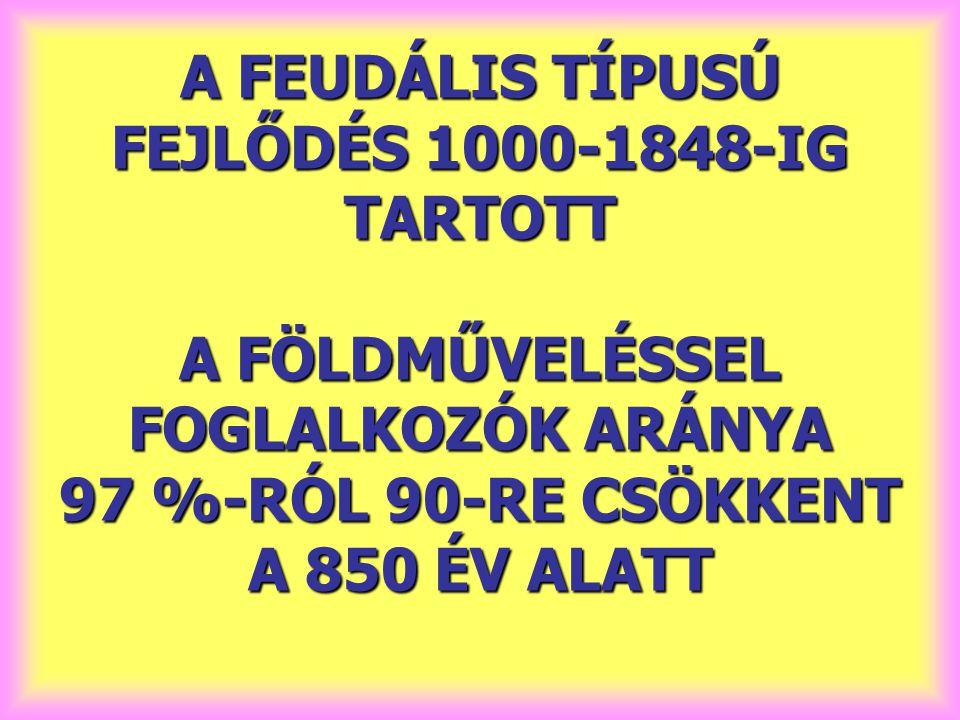 A FEUDÁLIS TÍPUSÚ FEJLŐDÉS 1000-1848-IG TARTOTT A FÖLDMŰVELÉSSEL FOGLALKOZÓK ARÁNYA 97 %-RÓL 90-RE CSÖKKENT A 850 ÉV ALATT