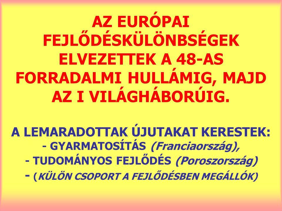 AZ EURÓPAI FEJLŐDÉSKÜLÖNBSÉGEK ELVEZETTEK A 48-AS FORRADALMI HULLÁMIG, MAJD AZ I VILÁGHÁBORÚIG.