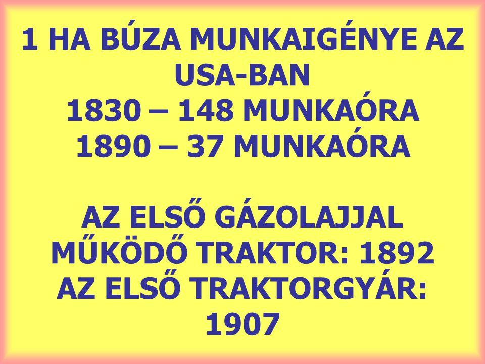 1 HA BÚZA MUNKAIGÉNYE AZ USA-BAN 1830 – 148 MUNKAÓRA 1890 – 37 MUNKAÓRA AZ ELSŐ GÁZOLAJJAL MŰKÖDŐ TRAKTOR: 1892 AZ ELSŐ TRAKTORGYÁR: 1907