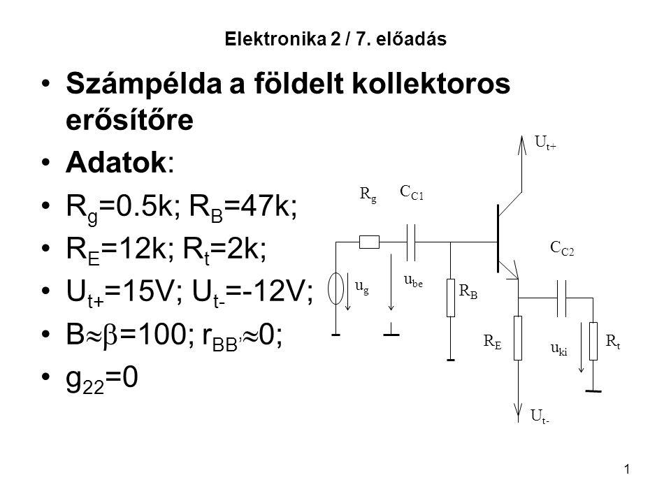 Számpélda a földelt kollektoros erősítőre Adatok: Rg=0.5k; RB=47k;