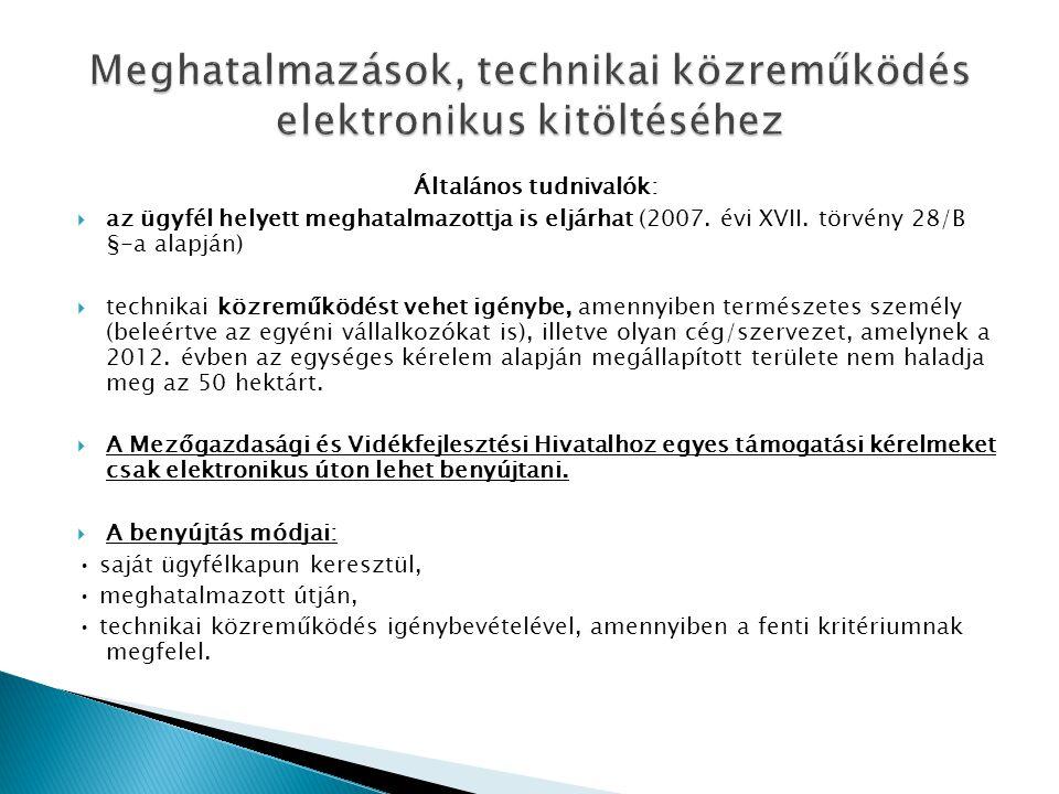Meghatalmazások, technikai közreműködés elektronikus kitöltéséhez