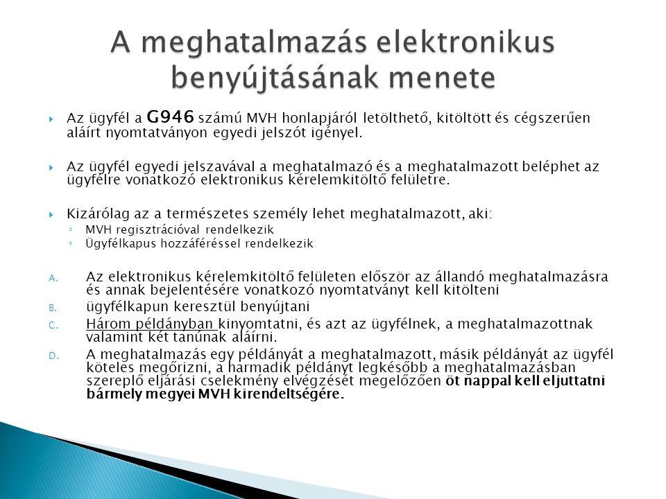 A meghatalmazás elektronikus benyújtásának menete