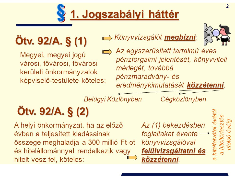 § 1. Jogszabályi háttér Ötv. 92/A. § (1) Ötv. 92/A. § (2)