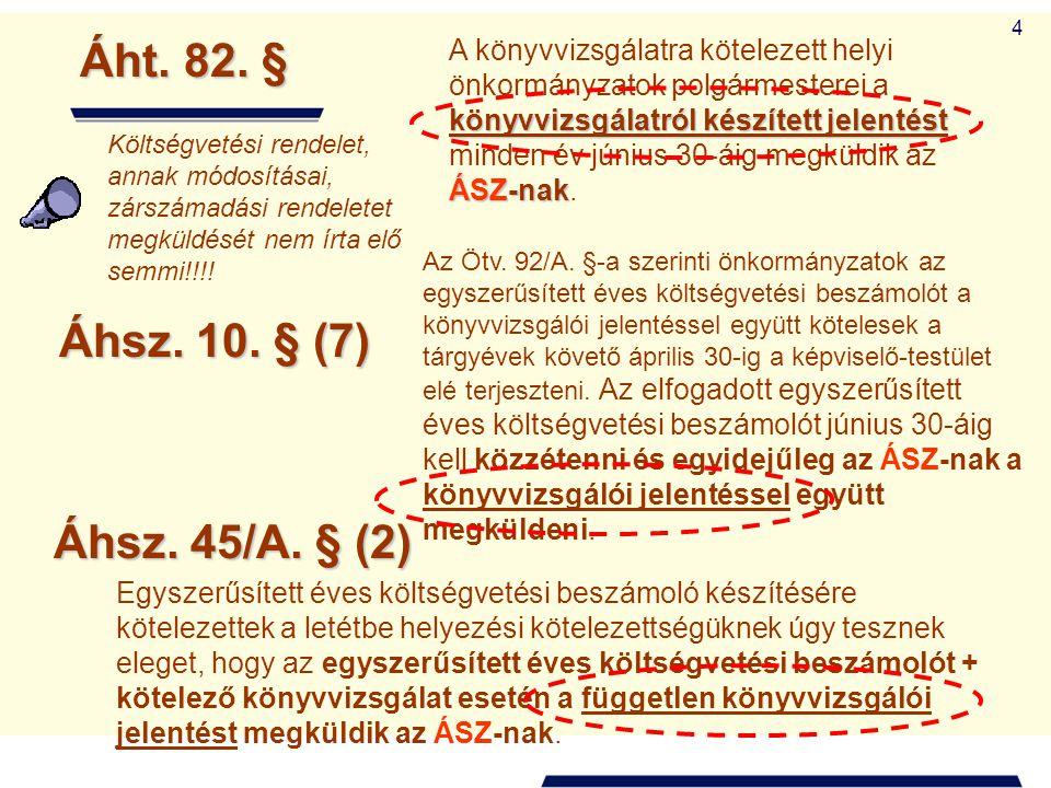 Áht. 82. § Áhsz. 10. § (7) Áhsz. 45/A. § (2)