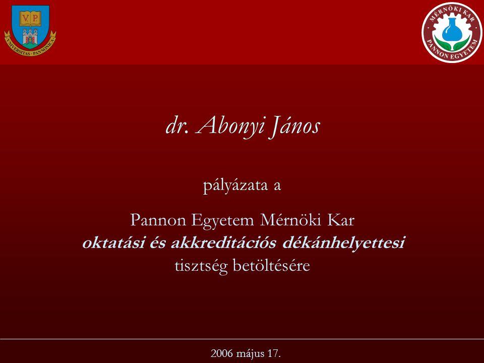 dr. Abonyi János pályázata a