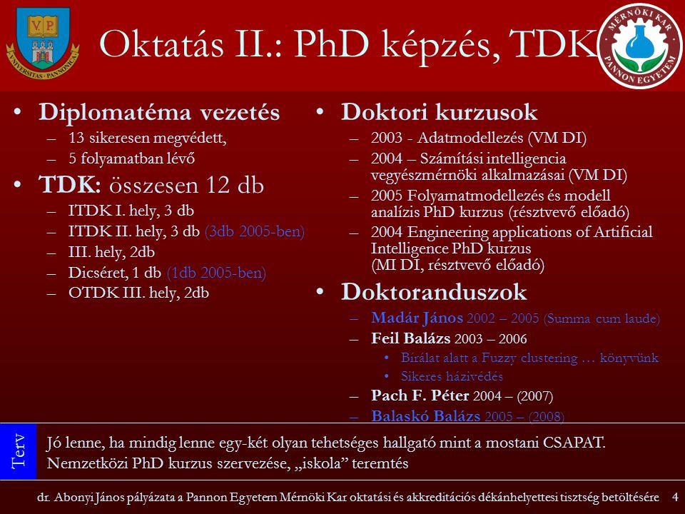 Oktatás II.: PhD képzés, TDK