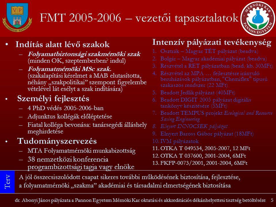 FMT 2005-2006 – vezetői tapasztalatok
