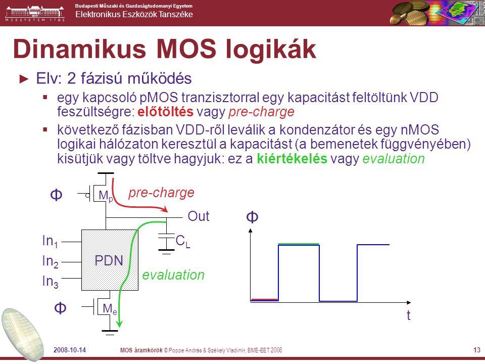 Dinamikus MOS logikák Elv: 2 fázisú működés Φ Φ