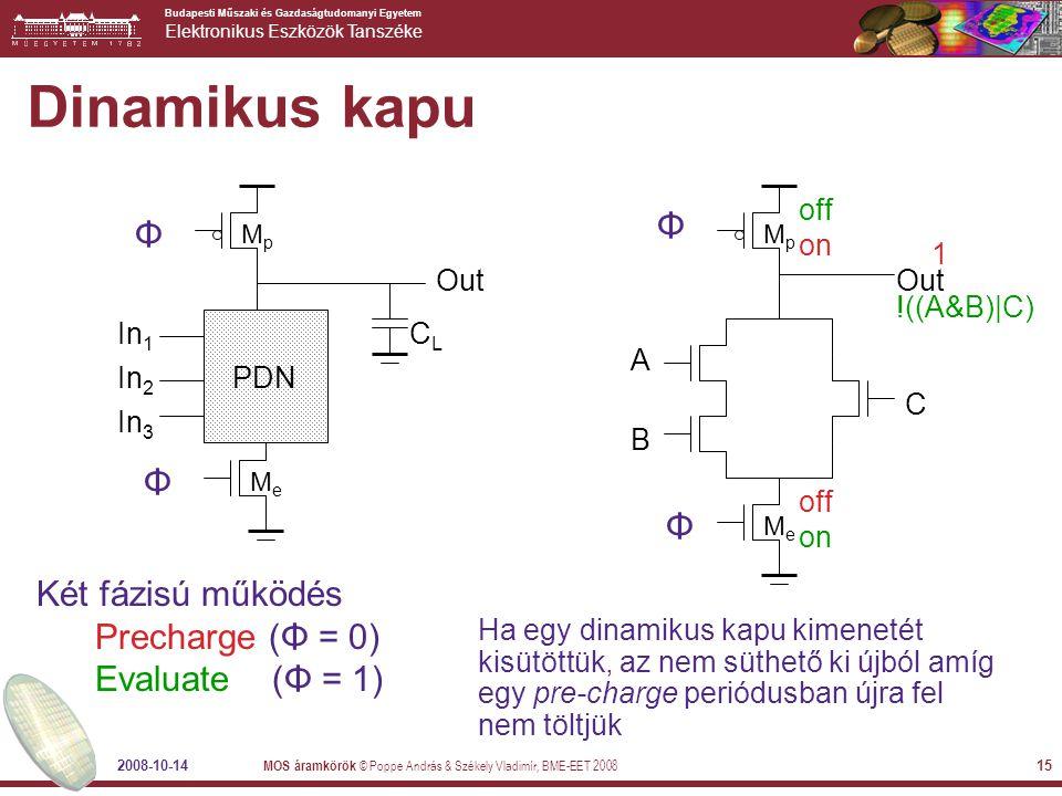Dinamikus kapu Φ Φ Φ Két fázisú működés Precharge (Φ = 0)
