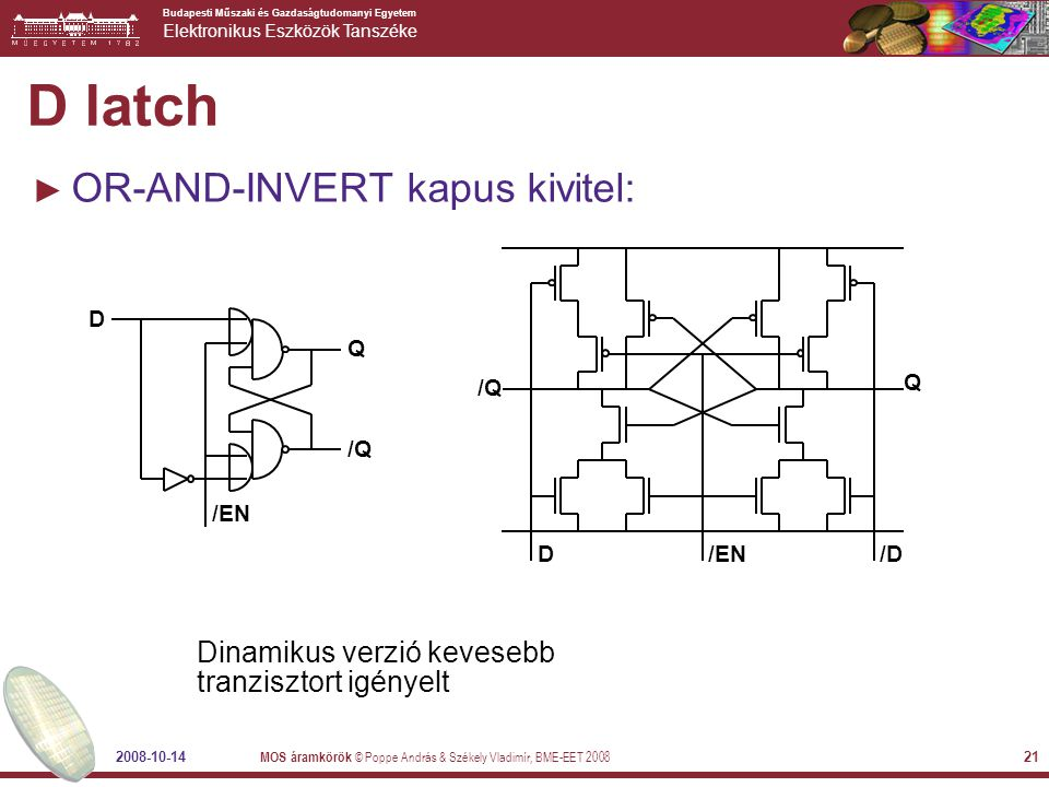 D latch OR-AND-INVERT kapus kivitel: