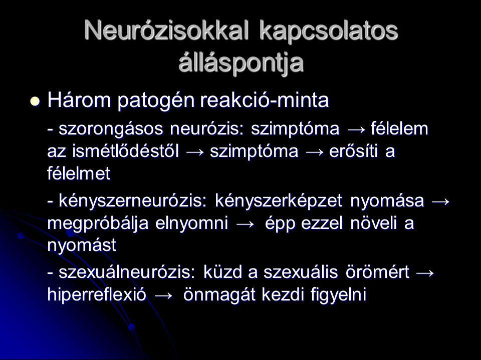 Neurózisokkal kapcsolatos álláspontja