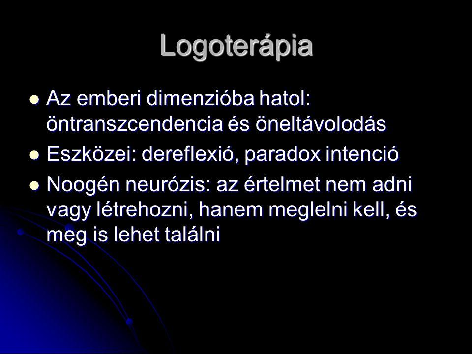 Logoterápia Az emberi dimenzióba hatol: öntranszcendencia és öneltávolodás. Eszközei: dereflexió, paradox intenció.