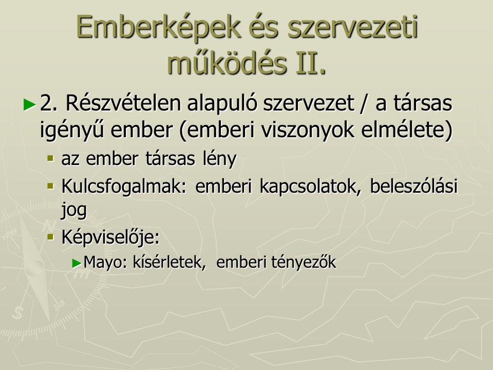 Emberképek és szervezeti működés II.