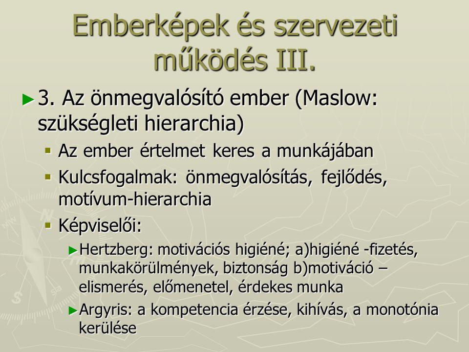 Emberképek és szervezeti működés III.