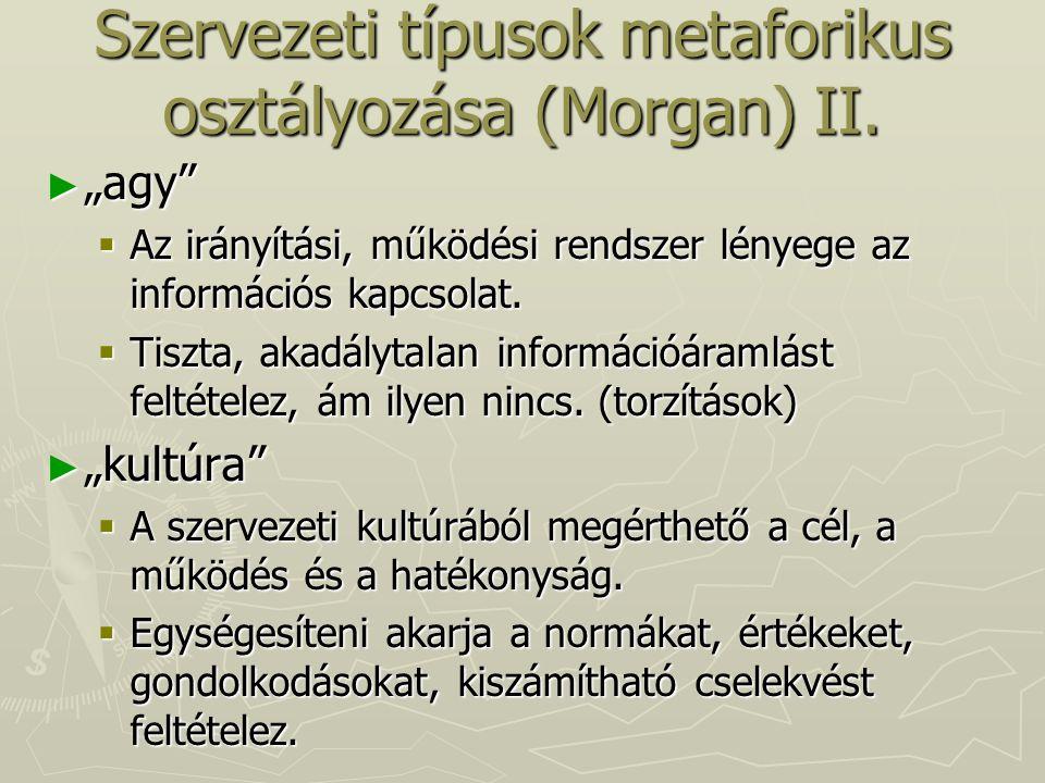 Szervezeti típusok metaforikus osztályozása (Morgan) II.