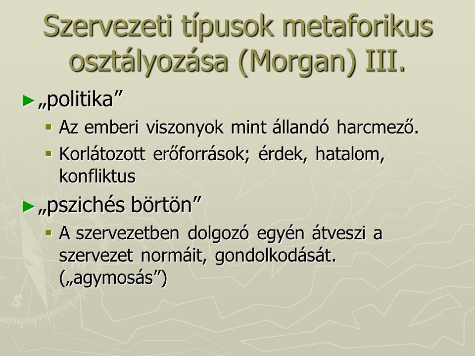 Szervezeti típusok metaforikus osztályozása (Morgan) III.