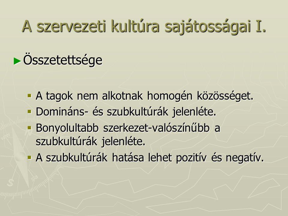 A szervezeti kultúra sajátosságai I.
