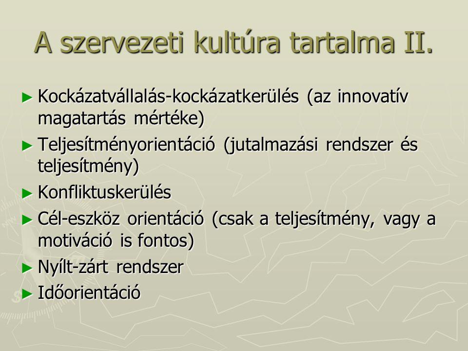 A szervezeti kultúra tartalma II.