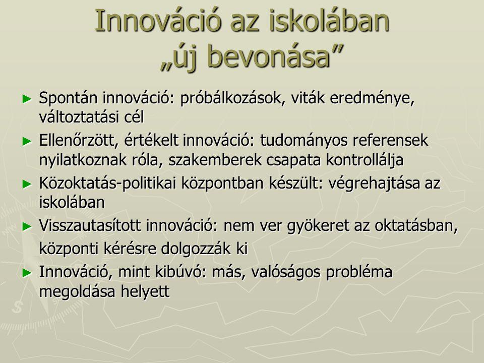 """Innováció az iskolában """"új bevonása"""