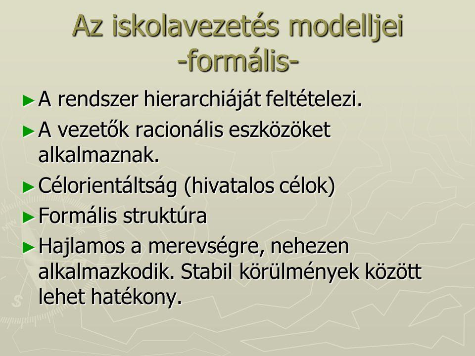 Az iskolavezetés modelljei -formális-