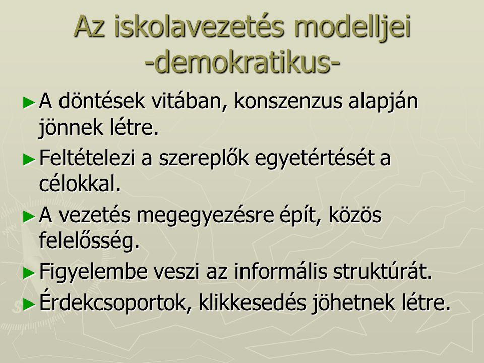 Az iskolavezetés modelljei -demokratikus-
