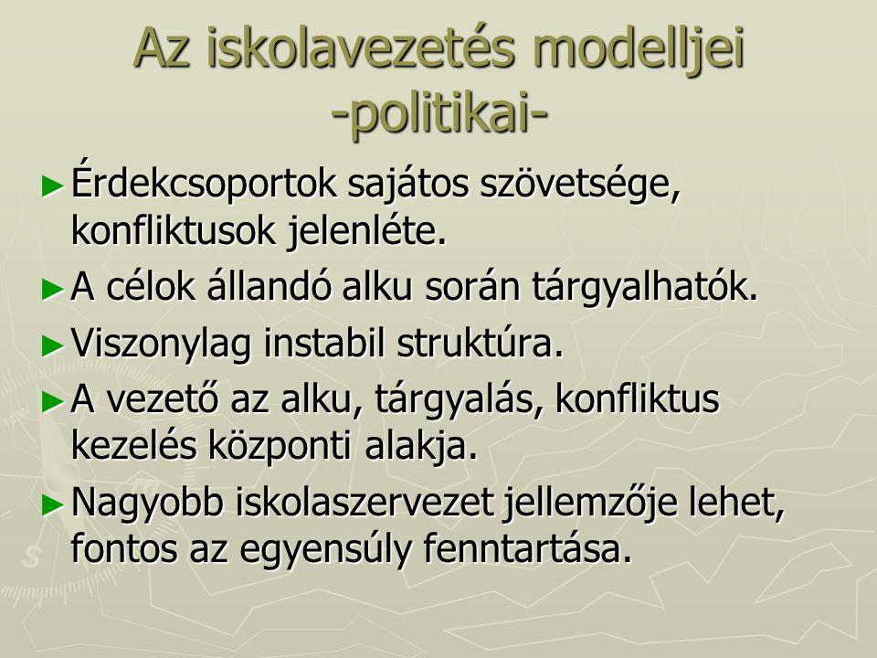 Az iskolavezetés modelljei -politikai-