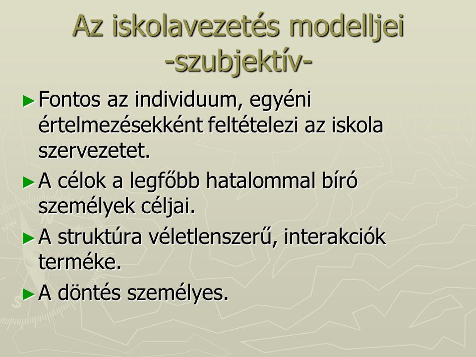 Az iskolavezetés modelljei -szubjektív-