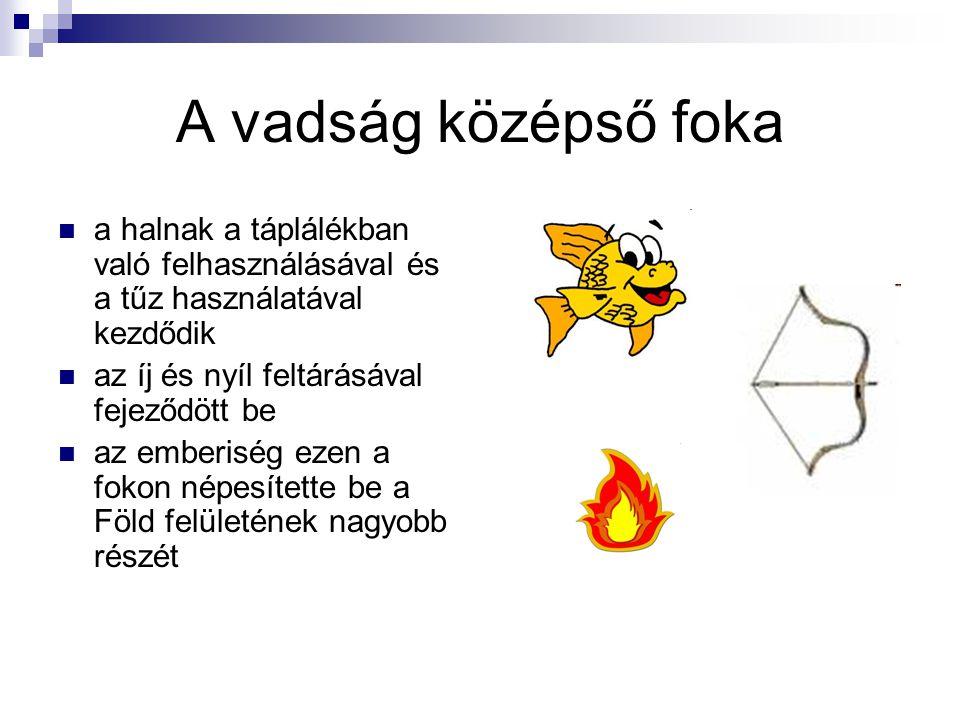 A vadság középső foka a halnak a táplálékban való felhasználásával és a tűz használatával kezdődik.