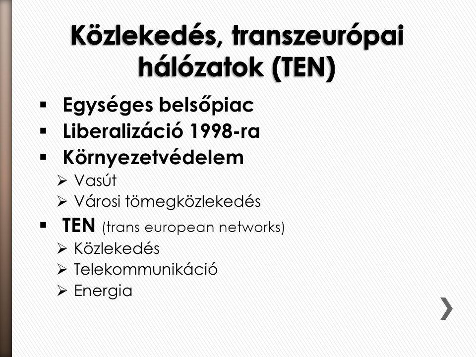 Közlekedés, transzeurópai hálózatok (TEN)