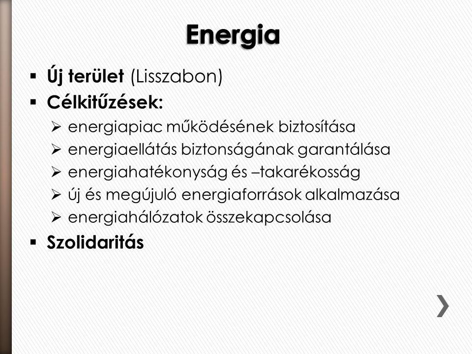 Energia Új terület (Lisszabon) Célkitűzések: Szolidaritás