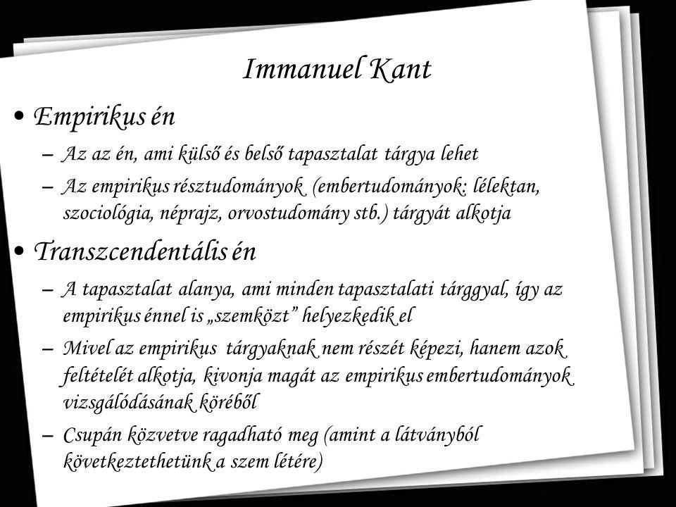 Immanuel Kant Empirikus én Transzcendentális én