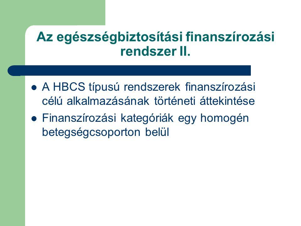 Az egészségbiztosítási finanszírozási rendszer II.