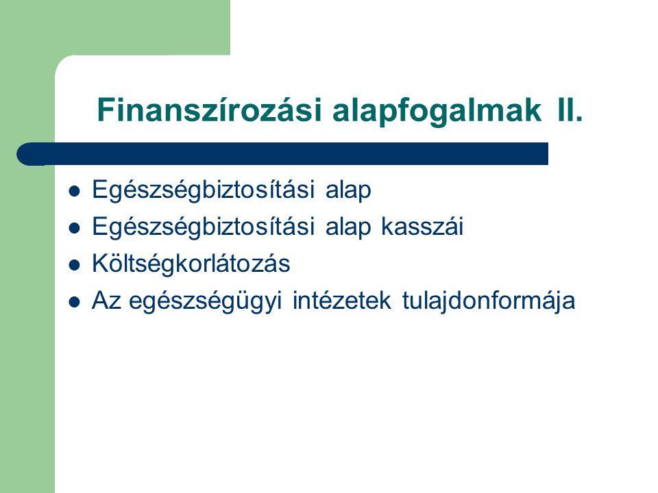 Finanszírozási alapfogalmak II.
