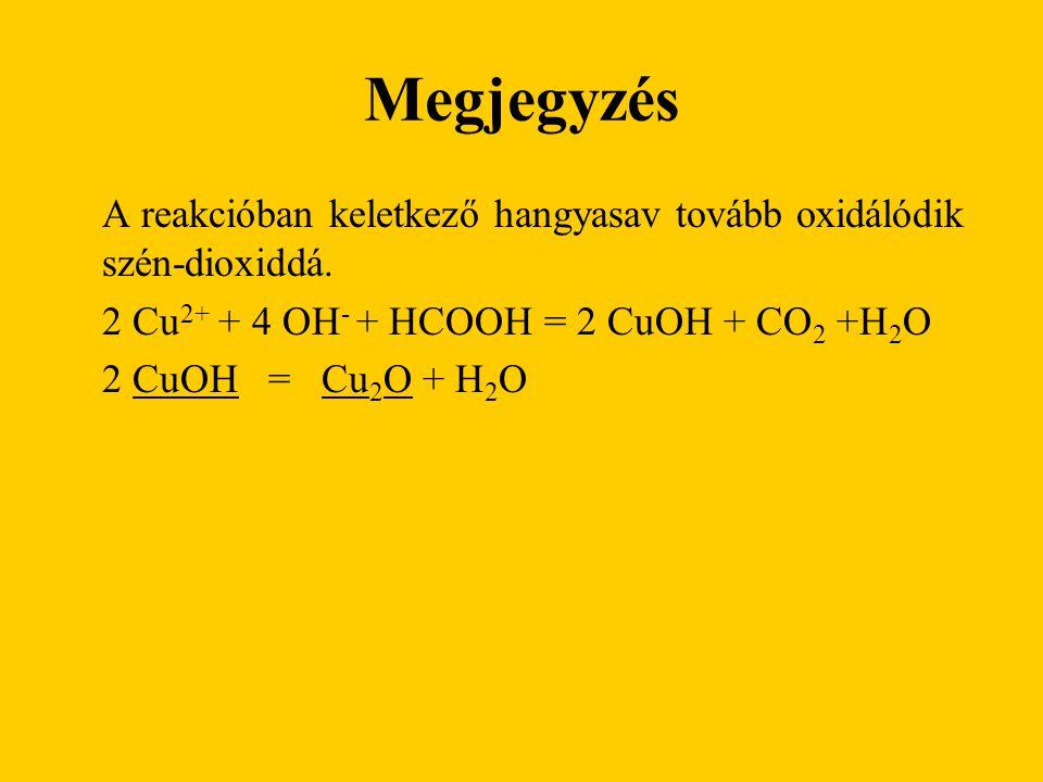 Megjegyzés 2 Cu2+ + 4 OH- + HCOOH = 2 CuOH + CO2 +H2O