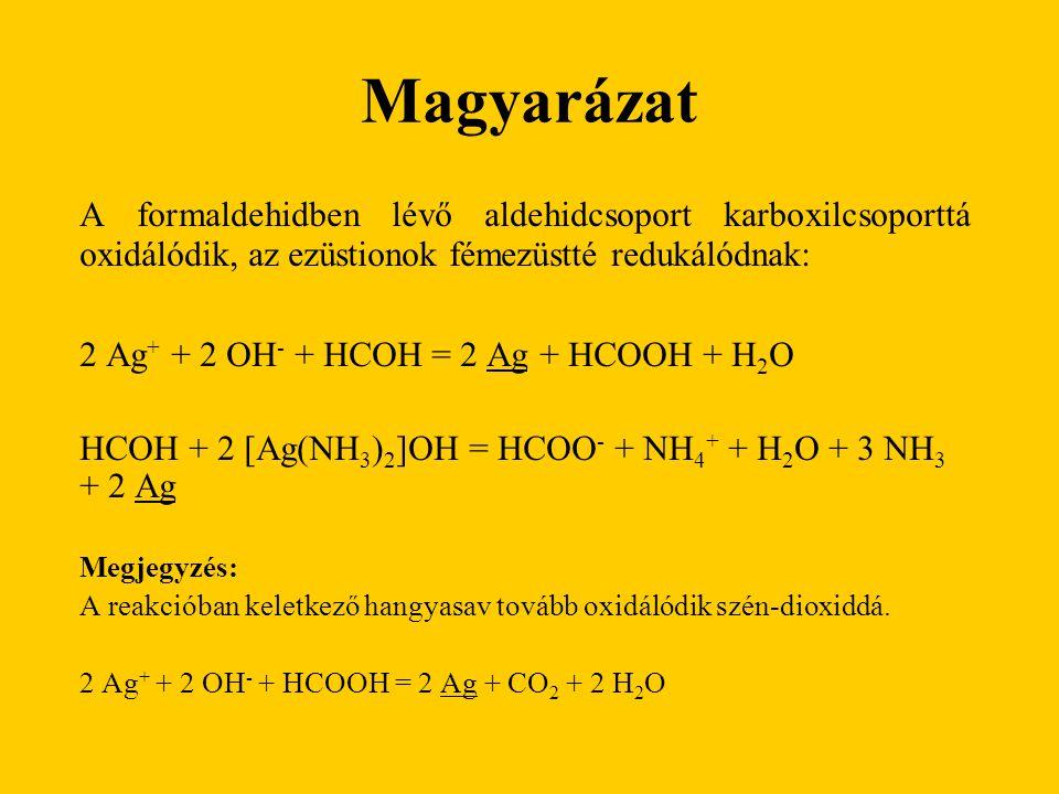 Magyarázat A formaldehidben lévő aldehidcsoport karboxilcsoporttá oxidálódik, az ezüstionok fémezüstté redukálódnak: