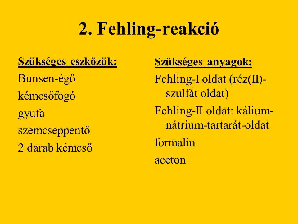 2. Fehling-reakció Bunsen-égő Fehling-I oldat (réz(II)-szulfát oldat)