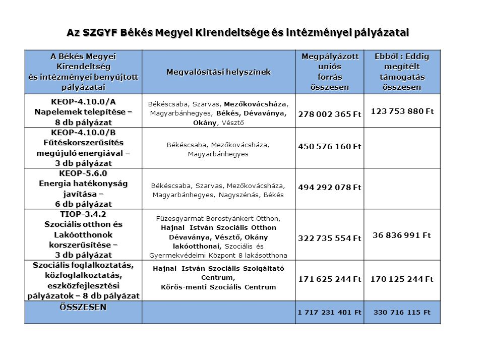Az SZGYF Békés Megyei Kirendeltsége és intézményei pályázatai