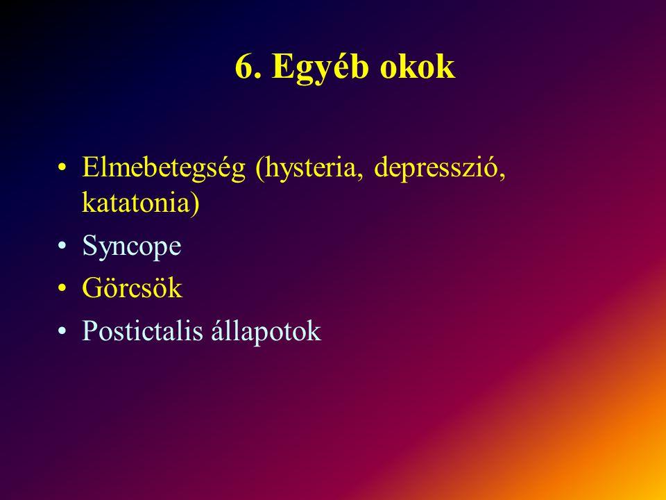 6. Egyéb okok Elmebetegség (hysteria, depresszió, katatonia) Syncope