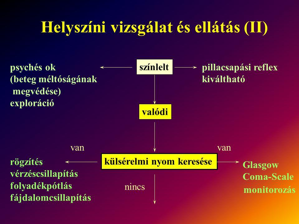Helyszíni vizsgálat és ellátás (II)