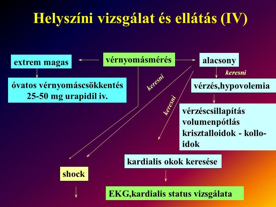 Helyszíni vizsgálat és ellátás (IV)