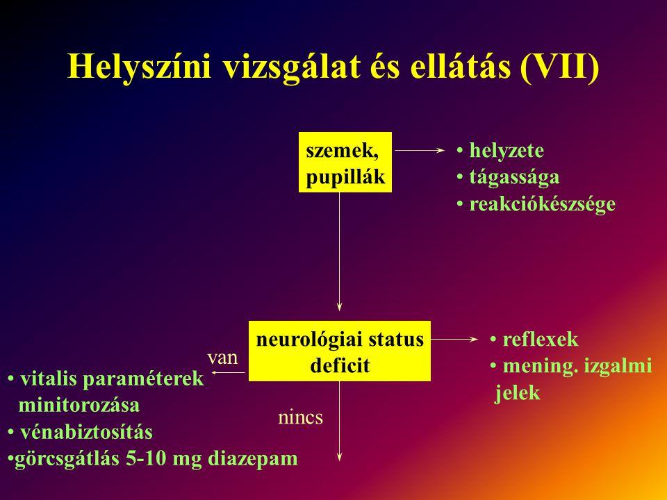 Helyszíni vizsgálat és ellátás (VII)