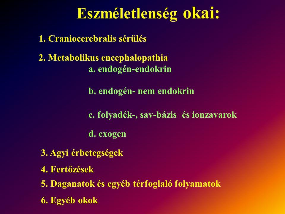 Eszméletlenség okai: 1. Craniocerebralis sérülés