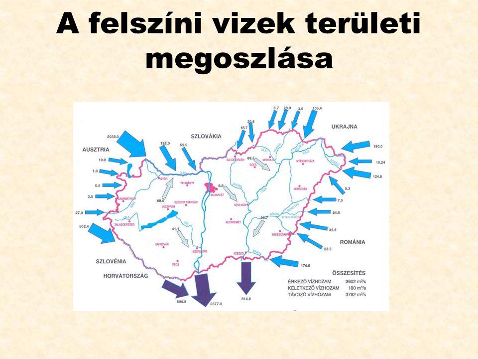 A felszíni vizek területi megoszlása