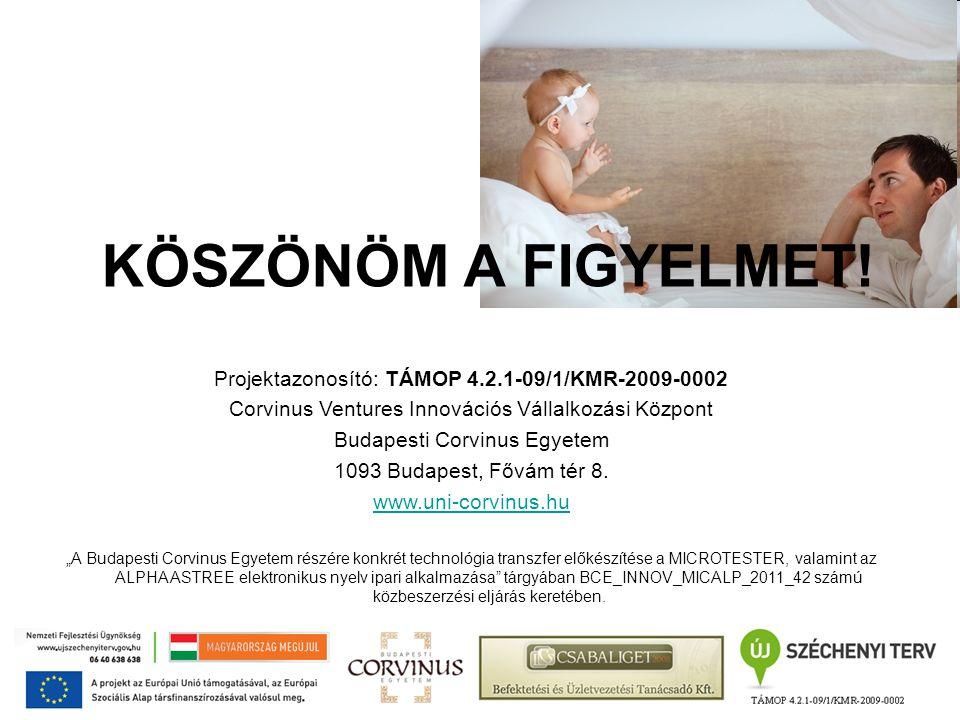 KÖSZÖNÖM A FIGYELMET! Projektazonosító: TÁMOP 4.2.1-09/1/KMR-2009-0002