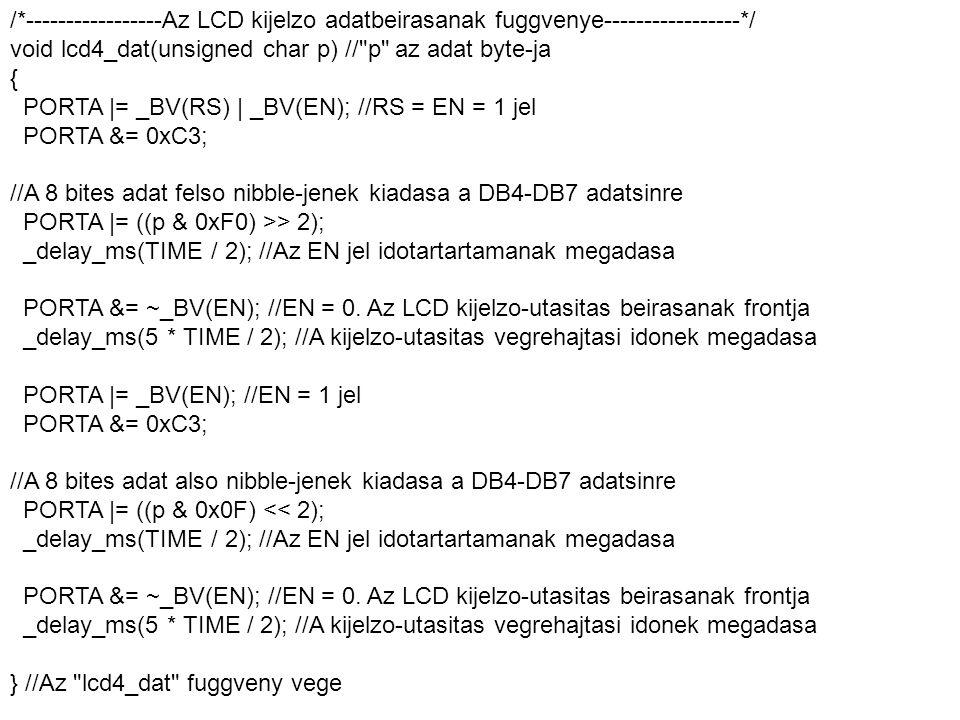 /*-----------------Az LCD kijelzo adatbeirasanak fuggvenye-----------------*/