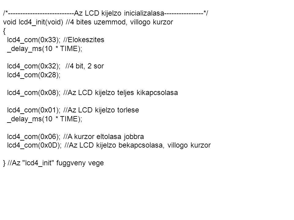 /*---------------------------Az LCD kijelzo inicializalasa----------------*/