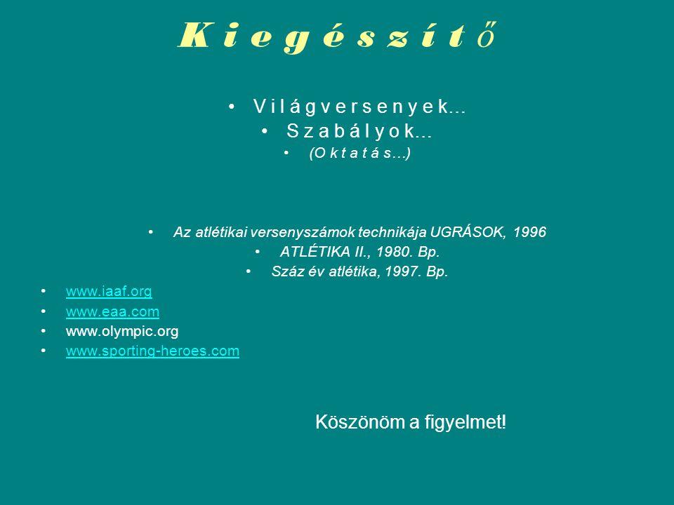 Az atlétikai versenyszámok technikája UGRÁSOK, 1996